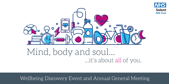 NHS Solent Mind body soul wellbeing discover event and agm logo