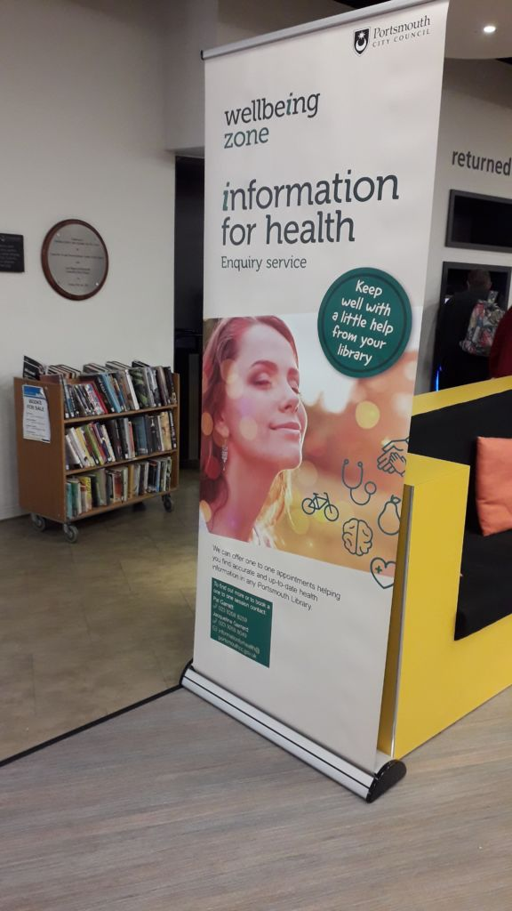 Photo of wellbeing zone sign at Southsea Library